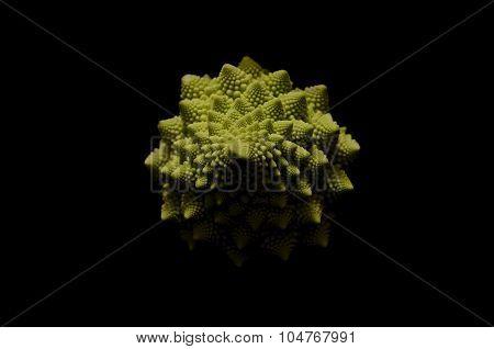 Romanesco Cauliflower On Black Background
