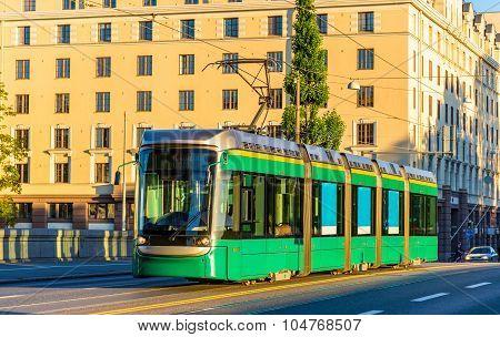 Tram On The Long Bridge In Helsinki - Finland