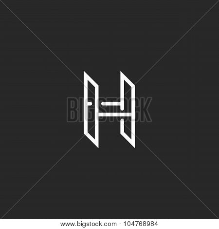 H Logo Monogram Letter, Mockup Design Element For Hotel Emblem Or Business Card