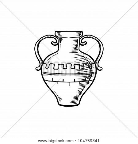 Ancient isolated amphora icon sketch