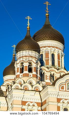 Domes Of Saint Alexander Nevsky Cathedral In Tallinn - Estonia