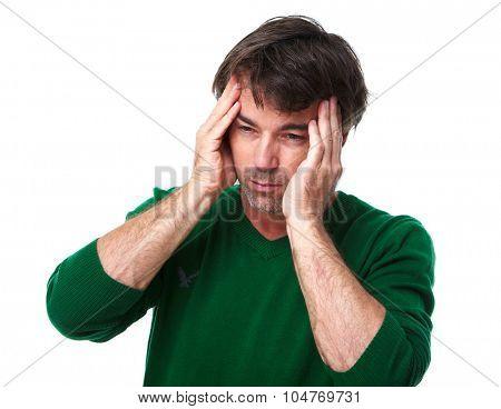 Man having stress and headache migraine. Health care concept.