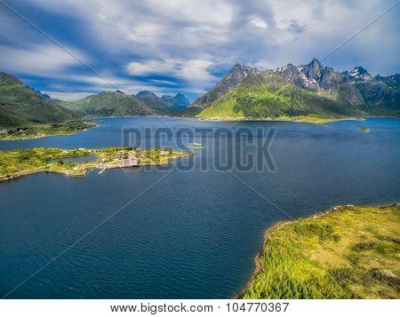 Fjord With Church On Lofoten