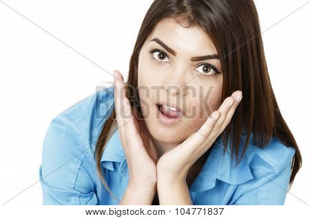 Beautiful  Businesswoman Smiling With Open Mouth And Open Palms