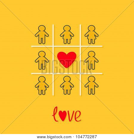 Man Woman Contour Line Icon Tic Tac Toe Game. Red Heart Sign Yellow Background Flat Design