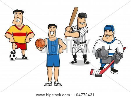 Football, basketball, baseball, hockey players