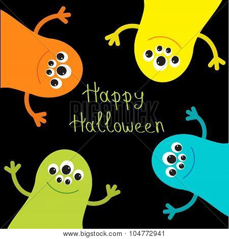 Cute Monster Roundelay Set. Happy Halloween Card. Flat Design.
