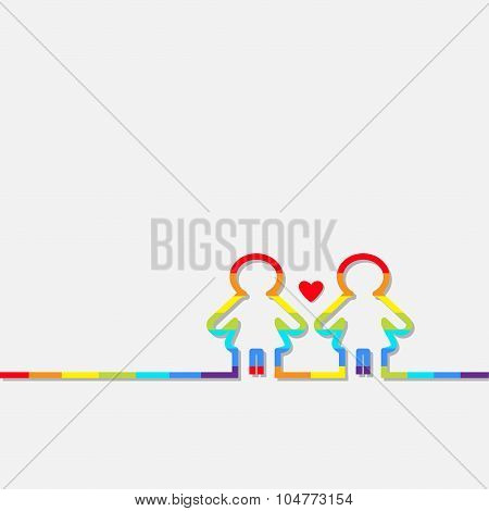 Gay Marriage Pride Symbol Two Rainbow Contour Women Sign With Red Heart Love Lgbt Icon Flat Design