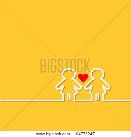 Gay Marriage Pride Symbol Two White Contour Women Sign With Red Heart Lgbt Icon Yellow Background Fl