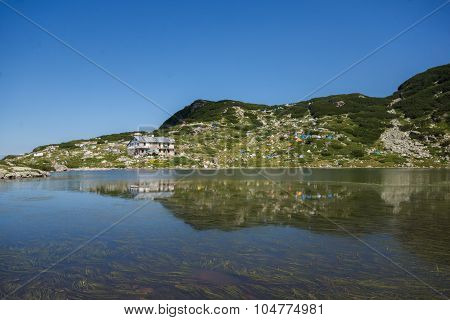 The Fish lake and mountain hut, The Seven Rila Lakes, Rila Mountain