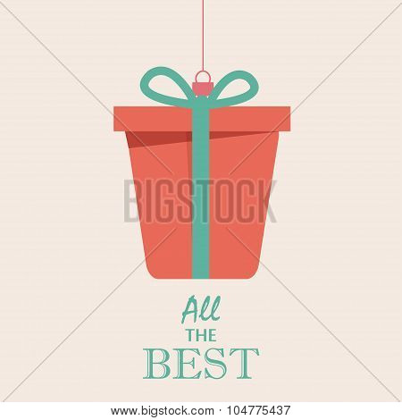 Merry Christmas Vintage Retro Typography Lettering Design Greeting Card on simple background. Vector