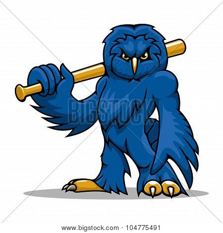 Cartoon blue owl baseball player with bat