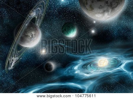 Supernova And Planets In Space