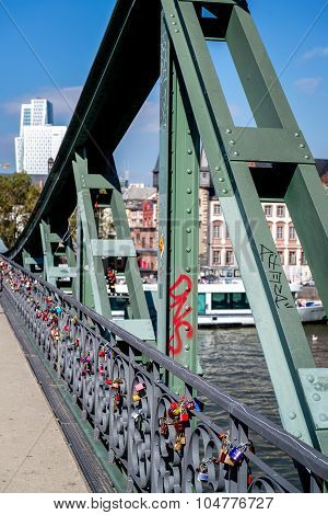 Love Locks On The Iron Bridge In Frankfurt Am Main, Germany