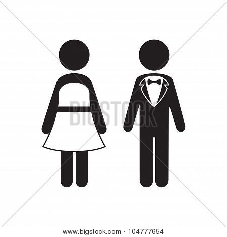 Man and Woman Icons. Black Tie Dress Code Icon