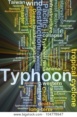 Background concept wordcloud illustration of typhoon glowing light