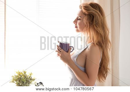 Young Pretty Woman Standing With A Cap Of Tea Near The Window