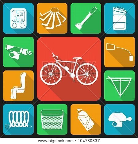 Set of flat icons of bicycle accessories