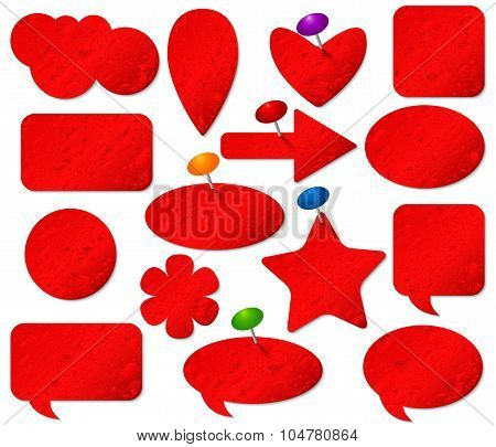 Red stickers set with misted glass effect and colored pushpins.