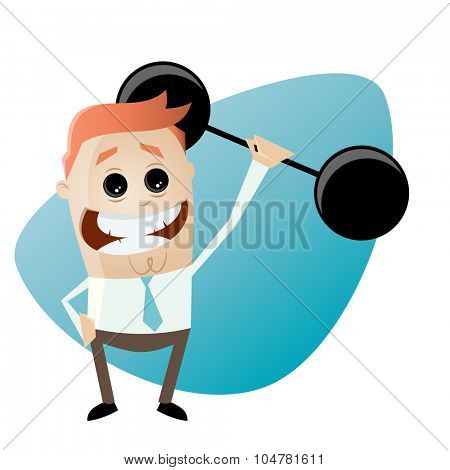 funny businessman is lifting weights