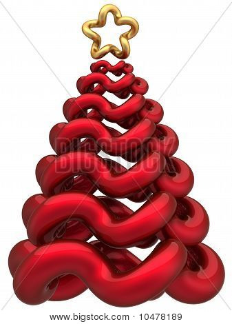 Stylized Christmas tree total red