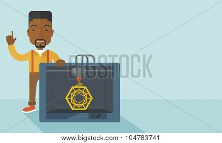 An african-american man standing with 3D printer and a raised hand  vector flat design illustration isolated on blue background. Horizontal layout with a text space.