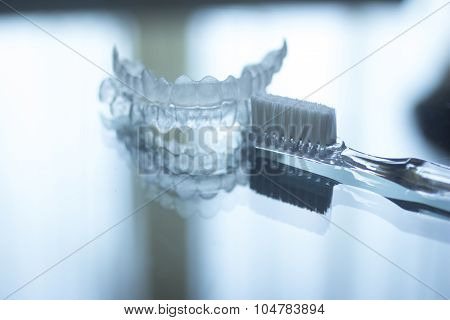 Invisible Dental Teeth Brackets Aligners Retainers And Toothbrush