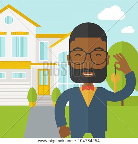 An african-american real estate agent with beard and glasses holding key on house background vector flat design illustration. Square layout.