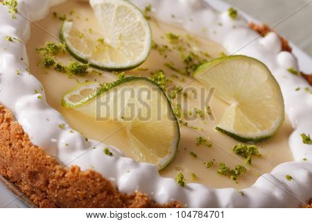 Lime Cake With Whipped Cream And Zest Macro. Horizontal