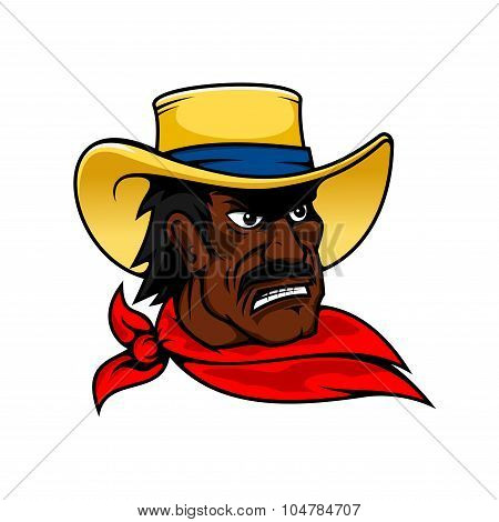 African american cartoon cowboy man in hat