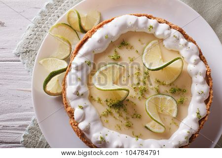 Key Lime Pie With Whipped Cream Close-up. Horizontal Top View