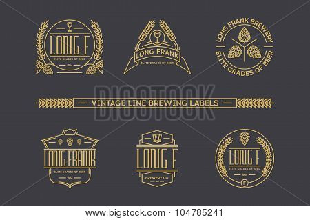 Retro line beer labels. Vector  vintage elements.