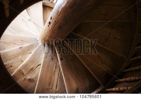 old wooden spiral staircase