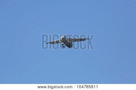 ZAGREB, CROATIA - JUNE 10: Avro RJ100, registration XB-IXP of Swiss  Airlines landing on Zagreb Airport Pleso on June 10, 2015.