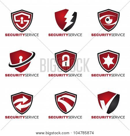 Security logo - 9 style red and black tone