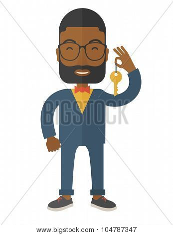 An african-american real estate agent with beard and glasses holding key vector flat design illustration isolated on white background. Vertical layout.