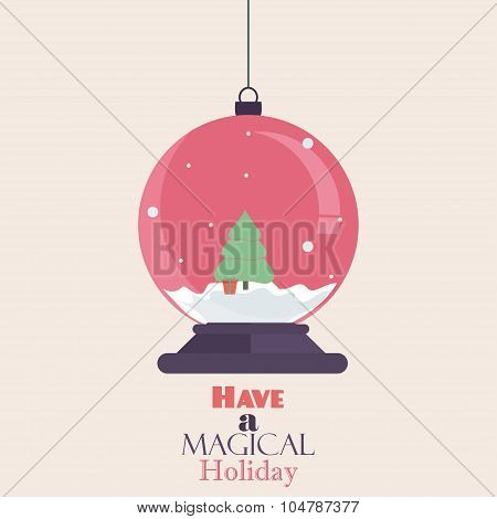 Merry Christmas Vintage Retro Typography Lettering Design Greeting Card On Simple Background. Flat C