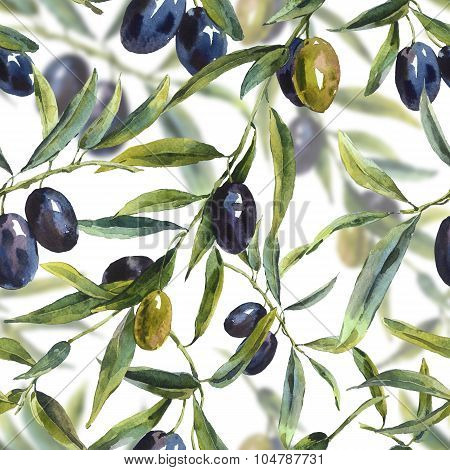 Seamless pattern with branches of the olive tree