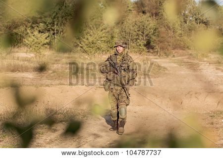 Young Soldier On Patrol