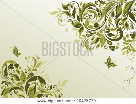Vintage olive visiting with floral pattern