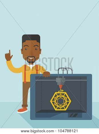 An african-american man standing with 3D printer and a raised hand  vector flat design illustration isolated on blue background. Vertical layout with a text space.