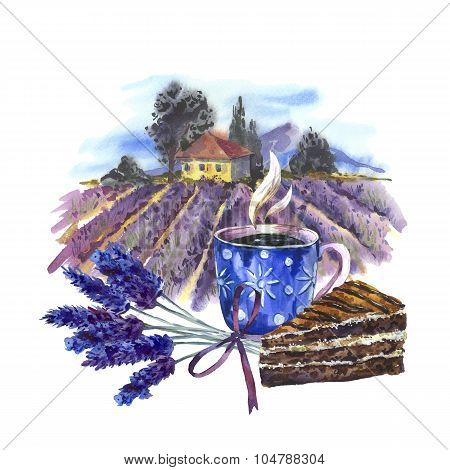 Watercolor landscape with blooming violet lavender, cup of tea a