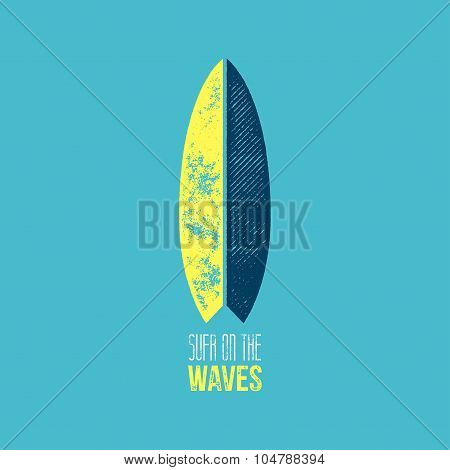 Surf On The Waves T-shirt Design - Yellow And Dark Blue Surf Board On Light Blue Background