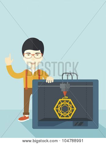 An asian man standing with 3D printer and a raised hand  vector flat design illustration isolated on blue background. Vertical layout with a text space.