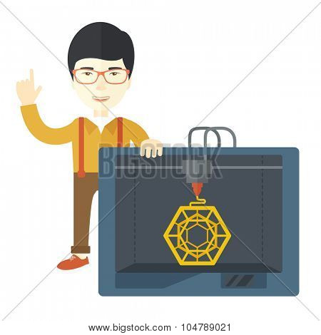 An asian man standing with 3D printer and a raised hand vector flat design illustration isolated on white background. Square layout.