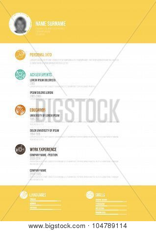 Retro Minimal Cv - Vector Illustration -  Resume Template