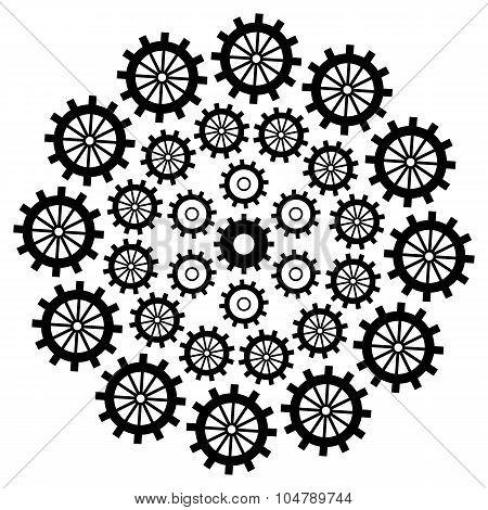 Gears Circular Black