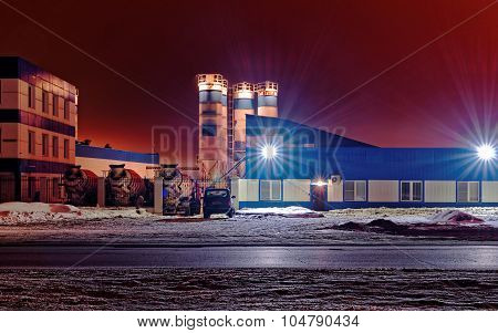 Industrial plant at night. Night view of the industrial enterprise