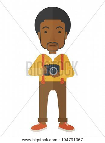 An African American photographer holding a camera vector flat design illustration isolated on white background. Vertical layout.