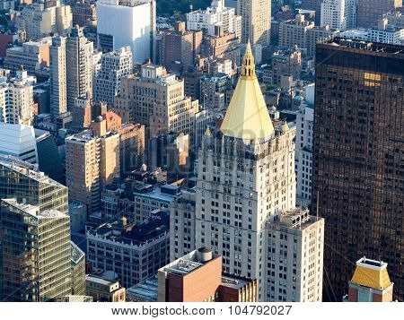 Aerial view of midtown New York City including the classic New York Life Building